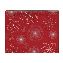 Floral Spirals Wallpaper Background Red Pattern Cosmetic Bag (xl)
