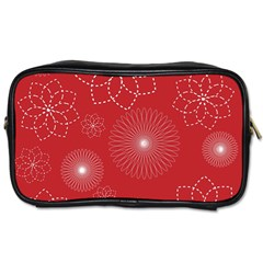 Floral Spirals Wallpaper Background Red Pattern Toiletries Bags