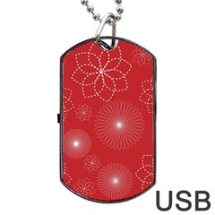 Floral Spirals Wallpaper Background Red Pattern Dog Tag USB Flash (Two Sides)