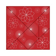 Floral Spirals Wallpaper Background Red Pattern Acrylic Tangram Puzzle (6  x 6 )