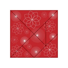 Floral Spirals Wallpaper Background Red Pattern Acrylic Tangram Puzzle (4  x 4 )