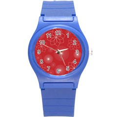 Floral Spirals Wallpaper Background Red Pattern Round Plastic Sport Watch (S)