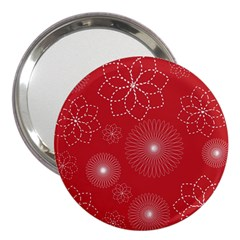 Floral Spirals Wallpaper Background Red Pattern 3  Handbag Mirrors