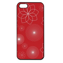 Floral Spirals Wallpaper Background Red Pattern Apple iPhone 5 Seamless Case (Black)