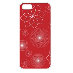 Floral Spirals Wallpaper Background Red Pattern Apple iPhone 5 Seamless Case (White)