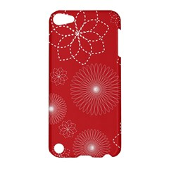 Floral Spirals Wallpaper Background Red Pattern Apple iPod Touch 5 Hardshell Case
