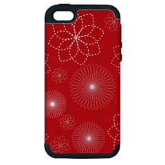 Floral Spirals Wallpaper Background Red Pattern Apple iPhone 5 Hardshell Case (PC+Silicone)