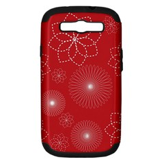 Floral Spirals Wallpaper Background Red Pattern Samsung Galaxy S III Hardshell Case (PC+Silicone)