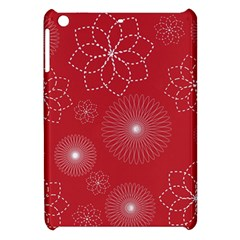 Floral Spirals Wallpaper Background Red Pattern Apple iPad Mini Hardshell Case