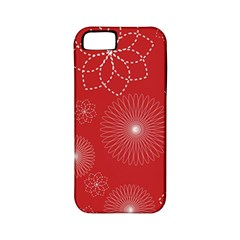 Floral Spirals Wallpaper Background Red Pattern Apple iPhone 5 Classic Hardshell Case (PC+Silicone)