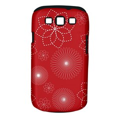Floral Spirals Wallpaper Background Red Pattern Samsung Galaxy S III Classic Hardshell Case (PC+Silicone)