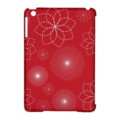 Floral Spirals Wallpaper Background Red Pattern Apple iPad Mini Hardshell Case (Compatible with Smart Cover)