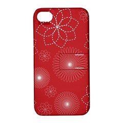 Floral Spirals Wallpaper Background Red Pattern Apple Iphone 4/4s Hardshell Case With Stand