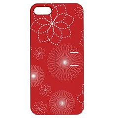 Floral Spirals Wallpaper Background Red Pattern Apple Iphone 5 Hardshell Case With Stand