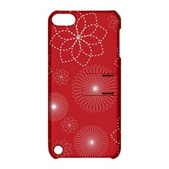 Floral Spirals Wallpaper Background Red Pattern Apple iPod Touch 5 Hardshell Case with Stand