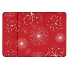 Floral Spirals Wallpaper Background Red Pattern Samsung Galaxy Tab 8.9  P7300 Flip Case