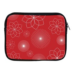 Floral Spirals Wallpaper Background Red Pattern Apple Ipad 2/3/4 Zipper Cases