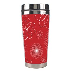 Floral Spirals Wallpaper Background Red Pattern Stainless Steel Travel Tumblers