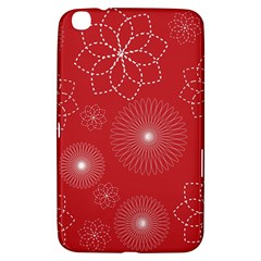Floral Spirals Wallpaper Background Red Pattern Samsung Galaxy Tab 3 (8 ) T3100 Hardshell Case