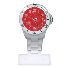 Floral Spirals Wallpaper Background Red Pattern Plastic Nurses Watch