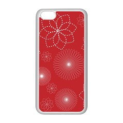 Floral Spirals Wallpaper Background Red Pattern Apple Iphone 5c Seamless Case (white)