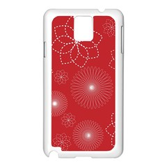 Floral Spirals Wallpaper Background Red Pattern Samsung Galaxy Note 3 N9005 Case (white)