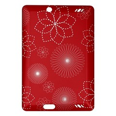 Floral Spirals Wallpaper Background Red Pattern Amazon Kindle Fire Hd (2013) Hardshell Case
