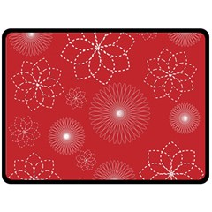 Floral Spirals Wallpaper Background Red Pattern Double Sided Fleece Blanket (Large)