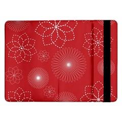 Floral Spirals Wallpaper Background Red Pattern Samsung Galaxy Tab Pro 12.2  Flip Case