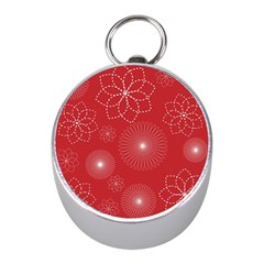 Floral Spirals Wallpaper Background Red Pattern Mini Silver Compasses