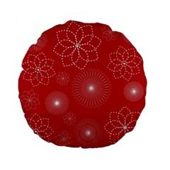 Floral Spirals Wallpaper Background Red Pattern Standard 15  Premium Flano Round Cushions