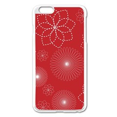 Floral Spirals Wallpaper Background Red Pattern Apple Iphone 6 Plus/6s Plus Enamel White Case