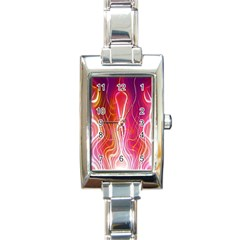 Fire Flames Abstract Background Rectangle Italian Charm Watch