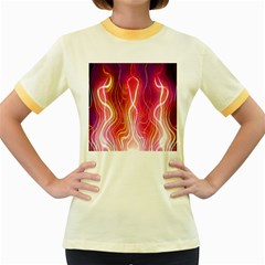 Fire Flames Abstract Background Women s Fitted Ringer T-Shirts