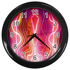 Fire Flames Abstract Background Wall Clocks (Black)