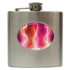 Fire Flames Abstract Background Hip Flask (6 Oz)