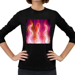 Fire Flames Abstract Background Women s Long Sleeve Dark T-Shirts