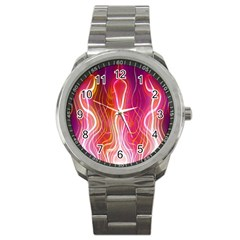 Fire Flames Abstract Background Sport Metal Watch