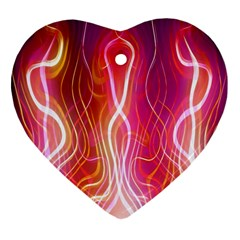 Fire Flames Abstract Background Heart Ornament (Two Sides)