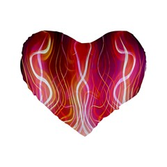 Fire Flames Abstract Background Standard 16  Premium Heart Shape Cushions