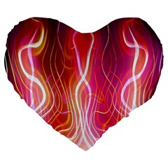 Fire Flames Abstract Background Large 19  Premium Heart Shape Cushions