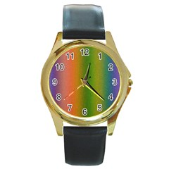 Colorful Stipple Effect Wallpaper Background Round Gold Metal Watch