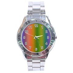 Colorful Stipple Effect Wallpaper Background Stainless Steel Analogue Watch