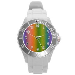 Colorful Stipple Effect Wallpaper Background Round Plastic Sport Watch (L)