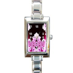 Fractal In Pink Lovely Rectangle Italian Charm Watch