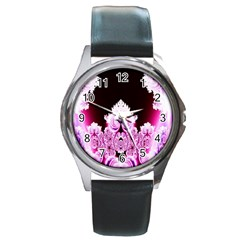 Fractal In Pink Lovely Round Metal Watch