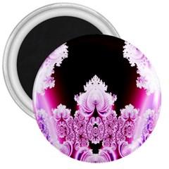 Fractal In Pink Lovely 3  Magnets
