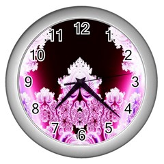 Fractal In Pink Lovely Wall Clocks (silver)