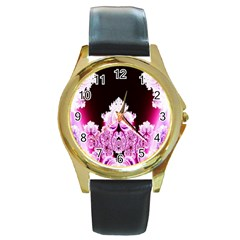 Fractal In Pink Lovely Round Gold Metal Watch