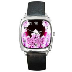 Fractal In Pink Lovely Square Metal Watch